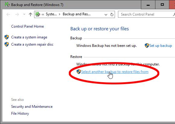 Restore a Windows 7 backup in Windows 10 - photo 03