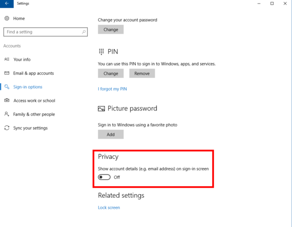 How to remove email address from Windows 10 login screen